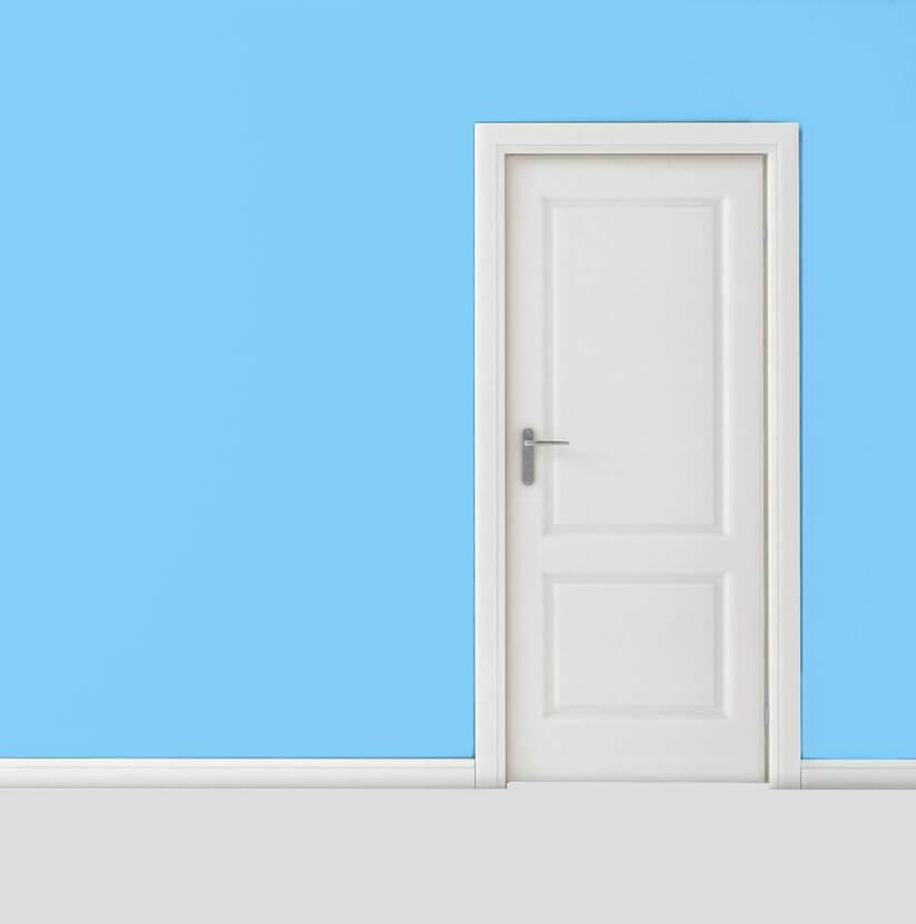 White door in blue room